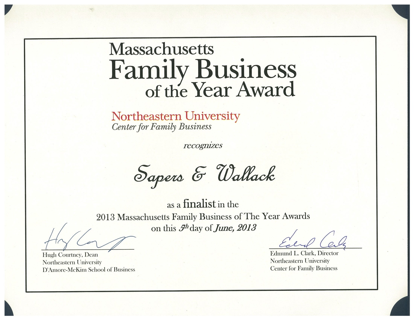 Certificate Family Business Of The Year Award Finalist Copy Sapers